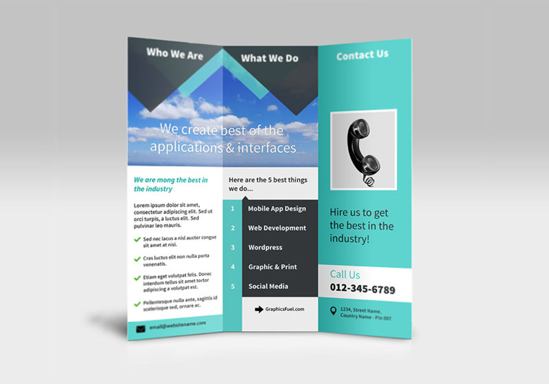 Tri-fold brochure psd mockup - PSD Files