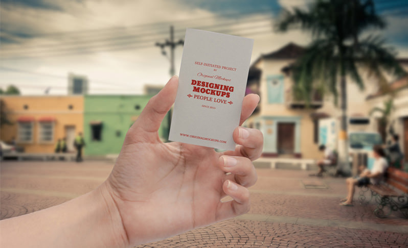 Business Card Hand Mockup