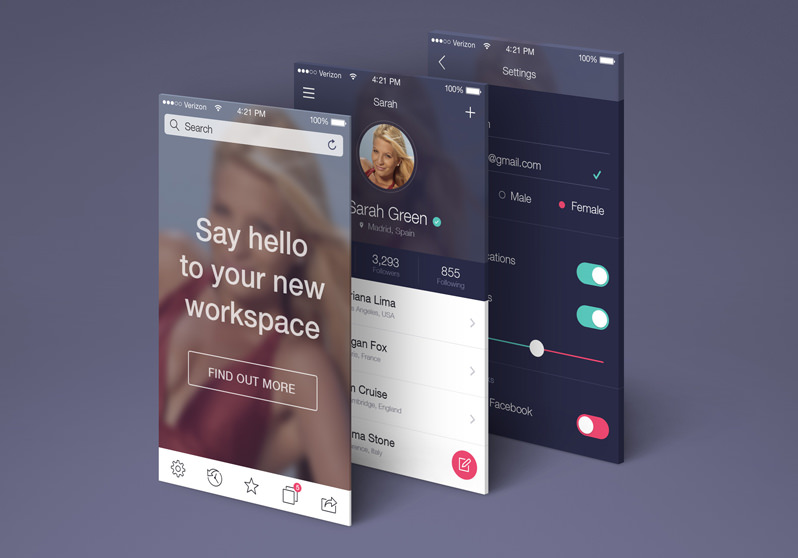 App Screens Perspective MockUp
