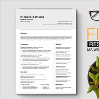 Free Simple Resume Template with Cover Letter For Creative Director, Marketing & I.T Professionals