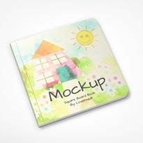 Children's Square Board Book Mockup Flat