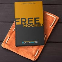 Notebook in Autumn Scenery Free PSD Mockup