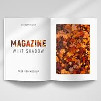 Magazine With Shadow 2 Free PSD Mockups