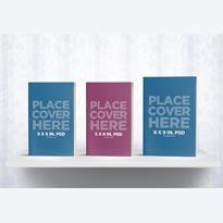 Bookshelf Mockup with 3 Books
