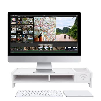 Multi-function Desktop Monitor Stand Computer Screen Riser Wood Shelf Plinth