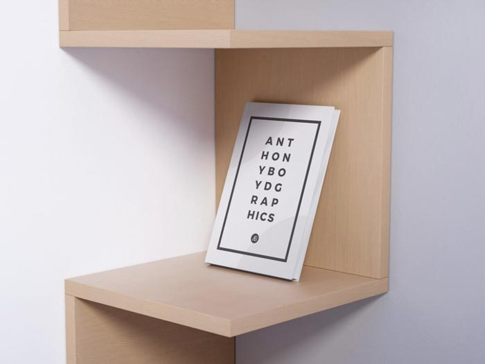 Book on modern Shelf Mockup