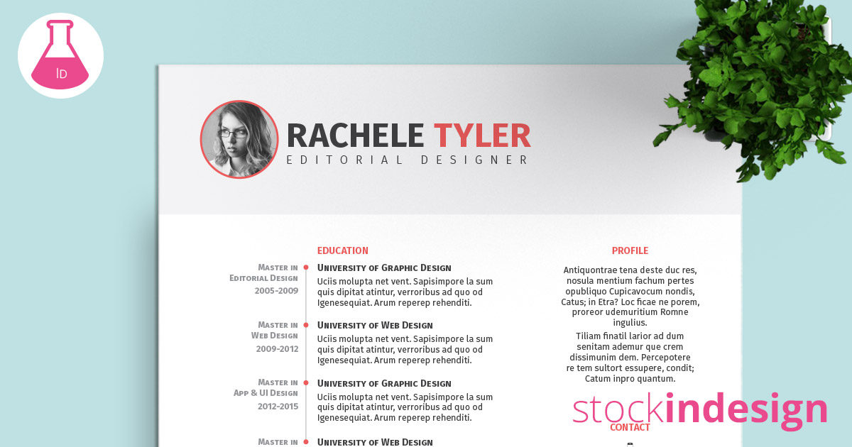 resume indesign template free indesign resume template stockindesign 24361 | 92 facebook